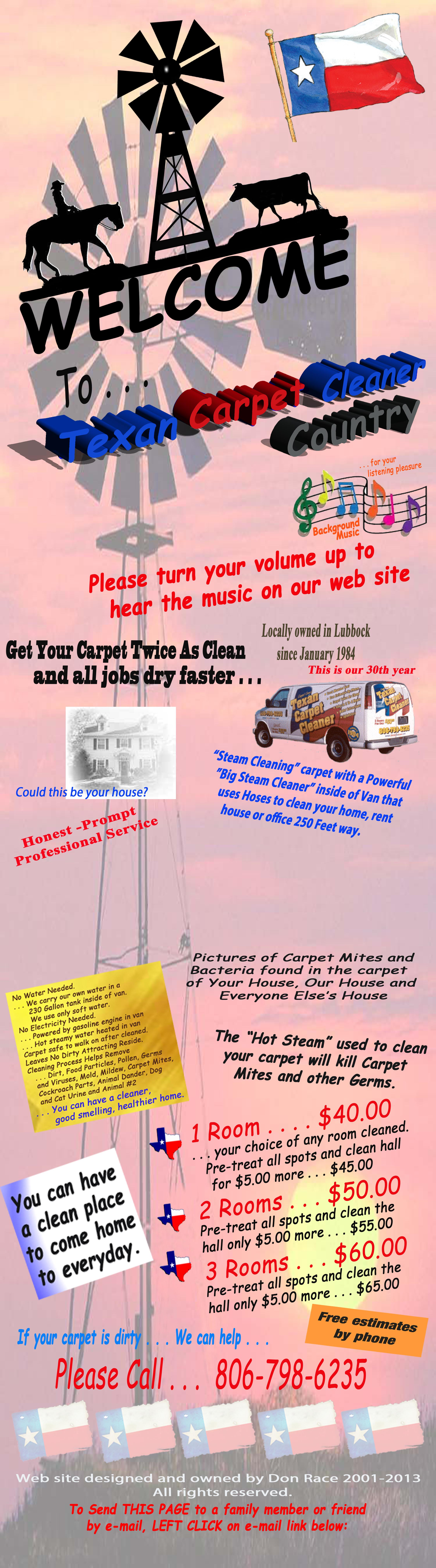 Page 1  WELCOME to Texan Carpet Cleaner Country